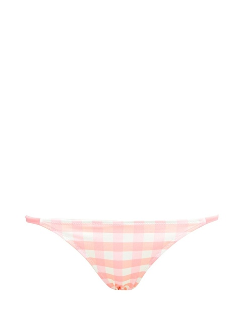 Solid & Stripe Kareli İpli Bikini Altı Pembe